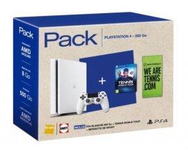 Fnac: Pack Console SONY PS4 Slim Blanc + Manette + Jeu Tennis World Tour, à 299,99€ au lieu de 369,89€
