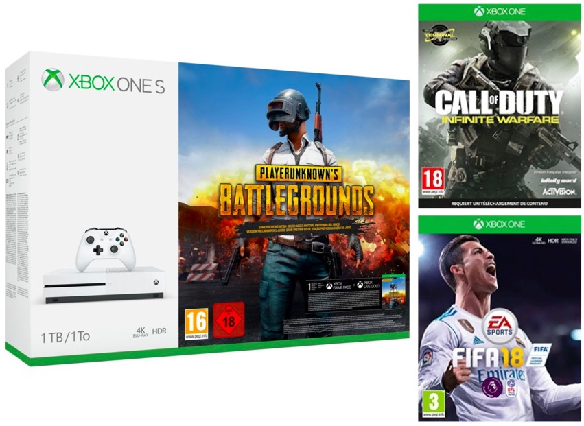 Code promo Boulanger : Xbox One S 1To + PUBG ou Rocket League ou Forza H3 + FIFA18 + CoD Infinite Warfare à 229€