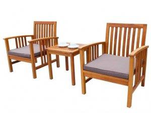Salon de jardin 2 places (1 table et 2 fauteuils) en bois d\'acacia à ...