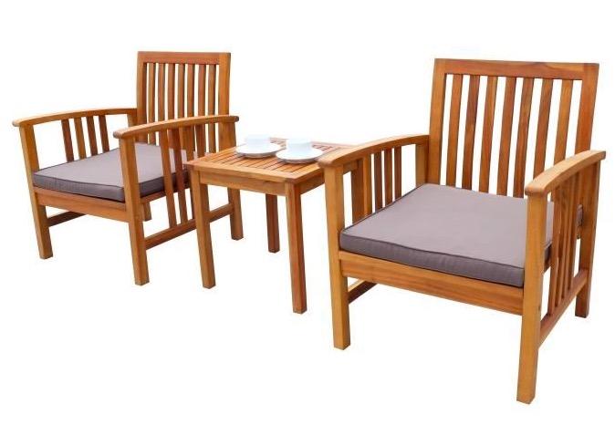 Salon de jardin 2 places (1 table et 2 fauteuils) en bois d ...