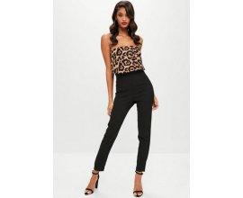 Missguided: Combi-pantalon noires buste à volants imprimé animal femme au prix de 15€ au lieu de 52,50€