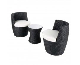 Maisons du Monde: Table de jardin + 2 fauteuils en résine tressée noirs en solde à 245€