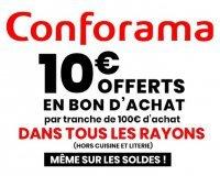 Conforama: 10€ offerts en bon d'achat tous les 100€ sur tout le site soldes inclus (hors literie & cuisine)