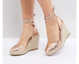ASOS: Sandales femme compensées style espadrilles rose gold au prix de 16,99€ au lieu de 34,99€