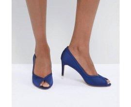 ASOS: Chaussures à talons femme mi haut peep toe en satin bleu marine au prix de 18,99€ au lieu de 38,99€