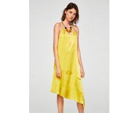 Mango: Robe femme satinée coupe asymétrique jaune au prix de 15,99€ au lieu 59,99€