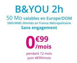 Bouygues Telecom: Forfait mobile 2h d'appels, SMS/MMS illimités à 0,99€ par mois pendant 1 an