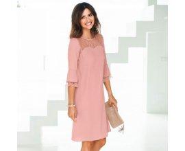 Blancheporte: Robe femme manches 3/4 en dentelle rose d'une valeur de 9,74€ au lieu de 38,99€