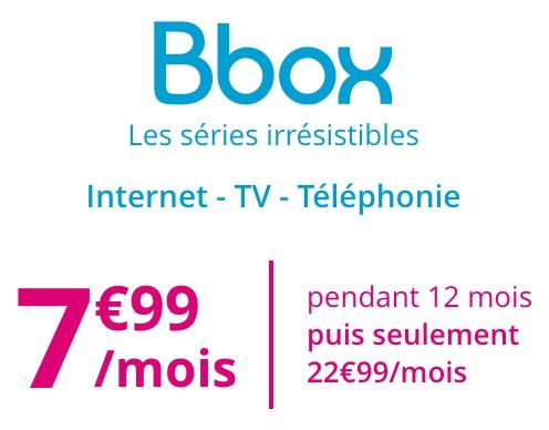 Code promo Bouygues Telecom : Abonnement Bbox Internet, TV et Téléphonie à 7,99€ par mois pendant 1 an