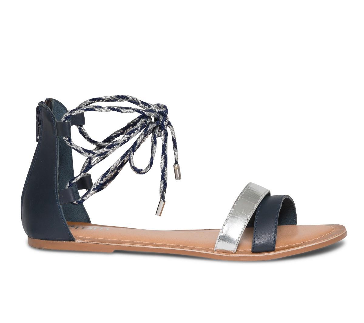 Code promo Eram : Sandales plates femme à lacets bleu marine et argent en cuir d'une valeur de 17,50€ au lieu de 35€