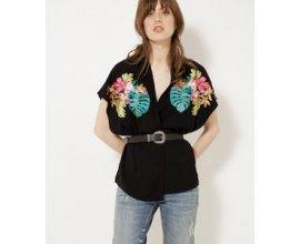 Camaïeu: Kimono femme court noir à broderies florales exotiques d'une valeur de 17,99€ au lieu de 35,99€