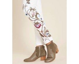 1.2.3: Pantalon slim 7/8 ème femme à broderie blanc au prix de 28,50€ au lieu de 95€