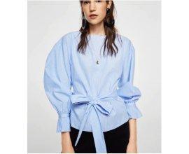 Mango: Blouse femme à rayures et noeud à la taille sur le devant au prix de 12,99€ au lieu de 35,99€