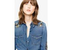 Zadig & Voltaire: Chemise en jean femme à broderie au prix de 224€ au lieu de 320€
