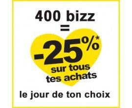 Bizzbee: 400 points de fidélité bizz cumulés = 25% de réduction sur tous vos achats pendant une journée