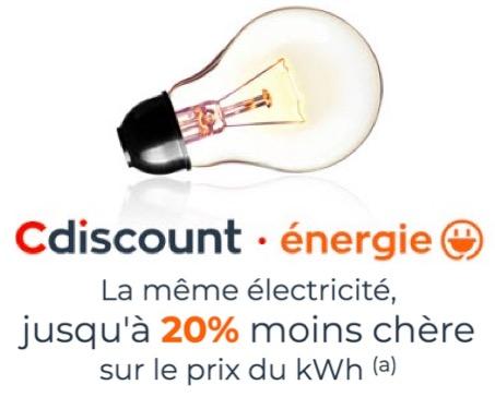 Code promo Cdiscount : Votre électricité jusqu'à 20% moins chère + 10€ offerts sur votre 3ème mensualité