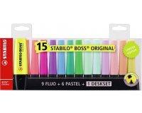 Amazon: Lot de 15 surligneurs STABILO couleurs fluo et pastel à 13,64€