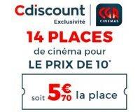Cdiscount: 14 places de cinéma CGR pour le prix de 10 (soit 5,70€ la place)