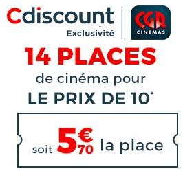 Code promo Cdiscount : 14 places de cinéma CGR pour le prix de 10 (soit 5,70€ la place)
