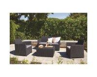 Salon de jardin 5 places en résine tressée et aluminium modèle GOA ...