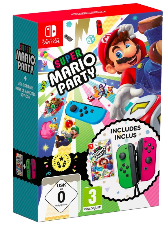 Code promo Amazon : Super Mario Party sur Nintendo Switch + 1 paire de Joy-Con Néon Vert et Rose à 87,46€