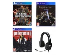 Rakuten: Pack PS4 : Wolfenstein 2 + L'Ombre de la Guerre + Dead Rising 4 + Casque-Micro Gaming à 49,99€
