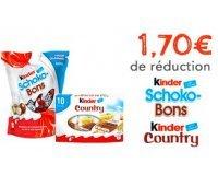 Kinder: Nombreux bons de réductions à imprimer sur les produits Kinder