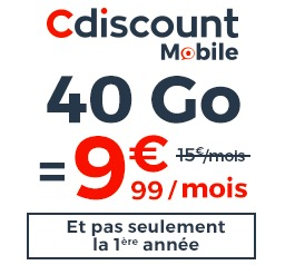 Code promo Cdiscount : Forfait Cdiscount Mobile avec Appels, SMS & MMS illimités + 40Go de données à 9,99€/mois à vie