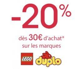 Oxybul éveil et jeux: 20% de remise dès 30€ d'achat sur les marques LEGO et Duplo