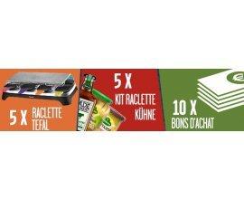 Kühne: 5 appareils à raclette Tefal, 5 kits Raclette Kühne, 10 bons d'achat à gagner