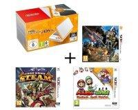 Cdiscount: Console New 2DS XL Blanche et Orange + 3 jeux à 128,99€