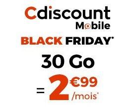 Cdiscount: [Black Friday] Forfait Mobile illimité + 30 Go à 2,99€/mois pendant 6 mois et sans engagement