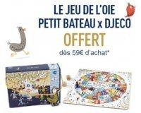 Petit Bateau: 1 Jeu de l'oie Petit Bateau x Djeco offert dès 59€ d'achat