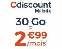 Cdiscount: Forfait Mobile illimité + 30 Go à 2,99€/mois pendant 6 mois et sans engagement