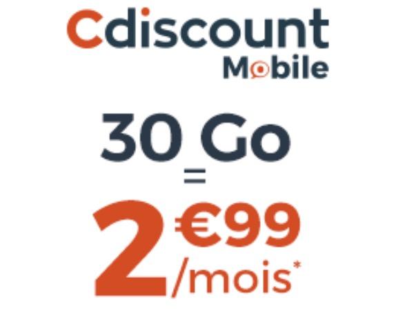 Code promo Cdiscount Mobile : Forfait Mobile illimité + 30 Go à 2,99€/mois pendant 6 mois et sans engagement