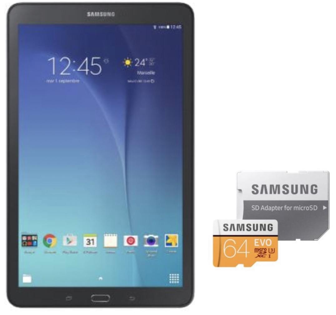 635ffc7bba5 Auchan  Tablette SAMSUNG Tab E + Carte mémoire Micro SD EVO 64 Go +  adaptateur