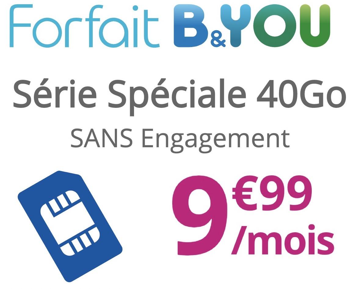 Code promo Bouygues Telecom : Forfait Mobile Appels, SMS/MMS illimités + 40Go d'Internet (dont 4Go en Europe/DOM) à 9,99€/mois