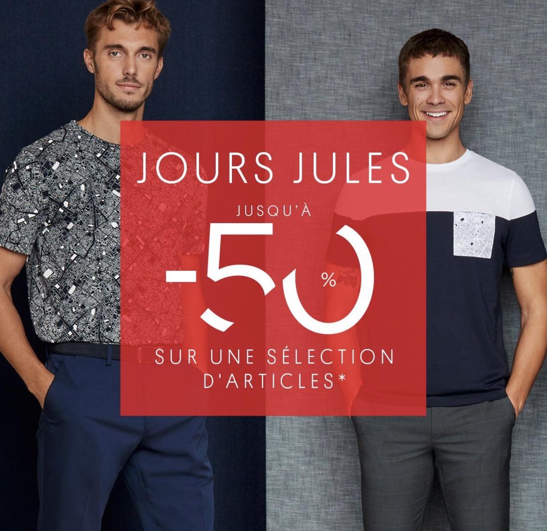 Code promo Jules : Jours Jules : - 50% sur une sélection de vêtements homme