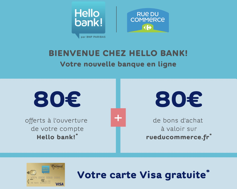 Code promo Hello bank! : 160€ offerts (80€ sur votre compte & 80€ en bon d'achat) + carte VISA gratuite