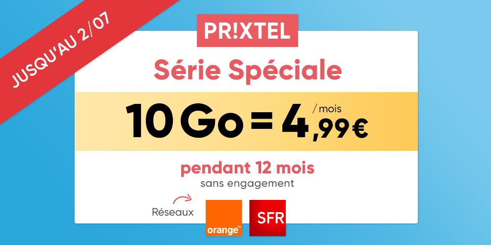 Code promo Prixtel : Forfait mobile 10Go pour 4,99€/mois pendant 12 mois réseau Orange ou SFR