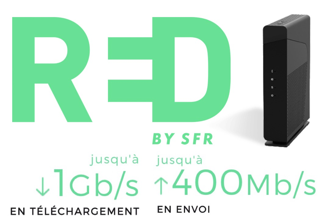 Code promo RED by SFR : Box internet Fibre (1Gb/s ↓ et 400Mb/s ↑) à 23€/mois sans engagement + 1 mois offert