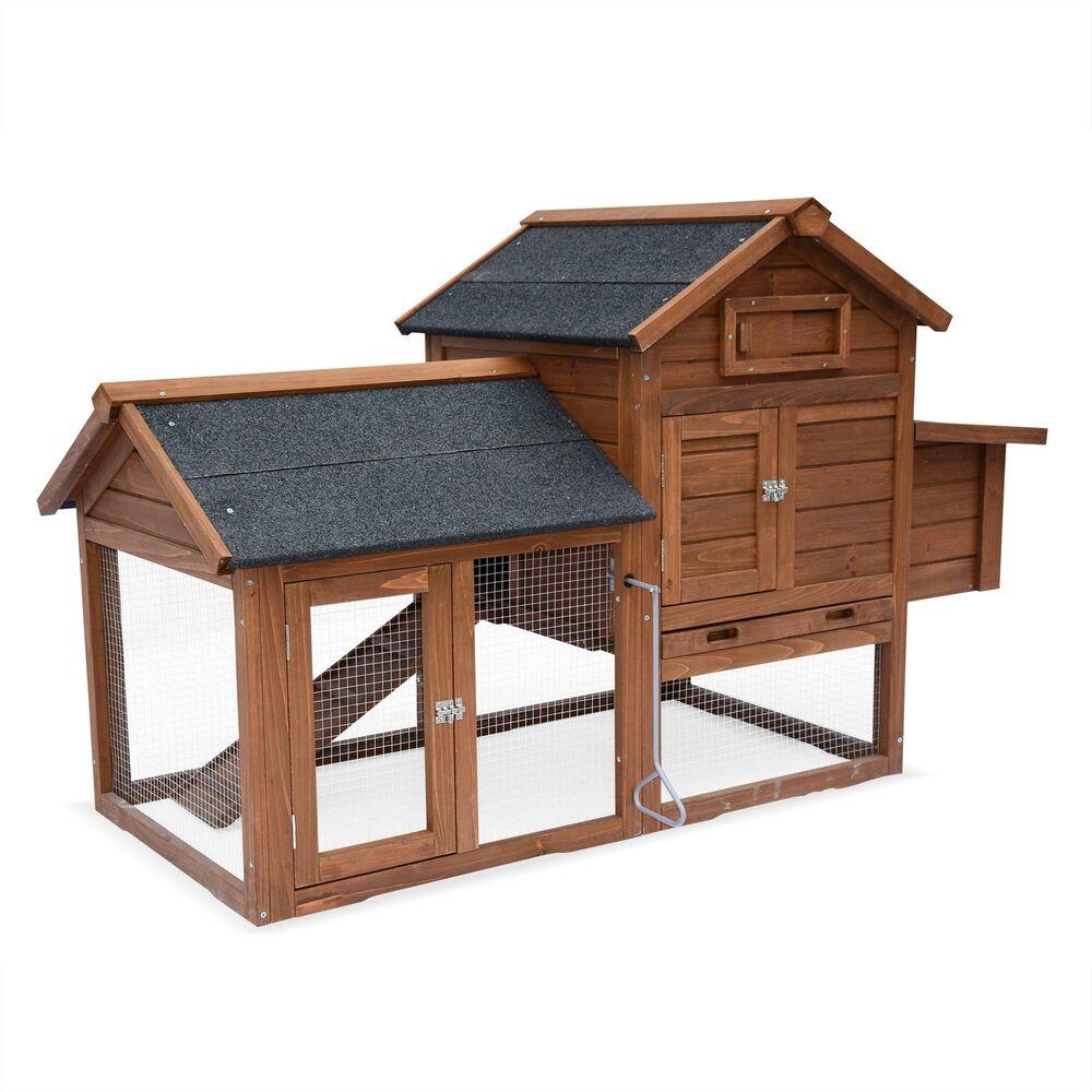 Code promo eBay : Poulailler en bois GALINETTE, 3 poules, cage à poule avec enclos à 119.90€ au lieu de 159.90€