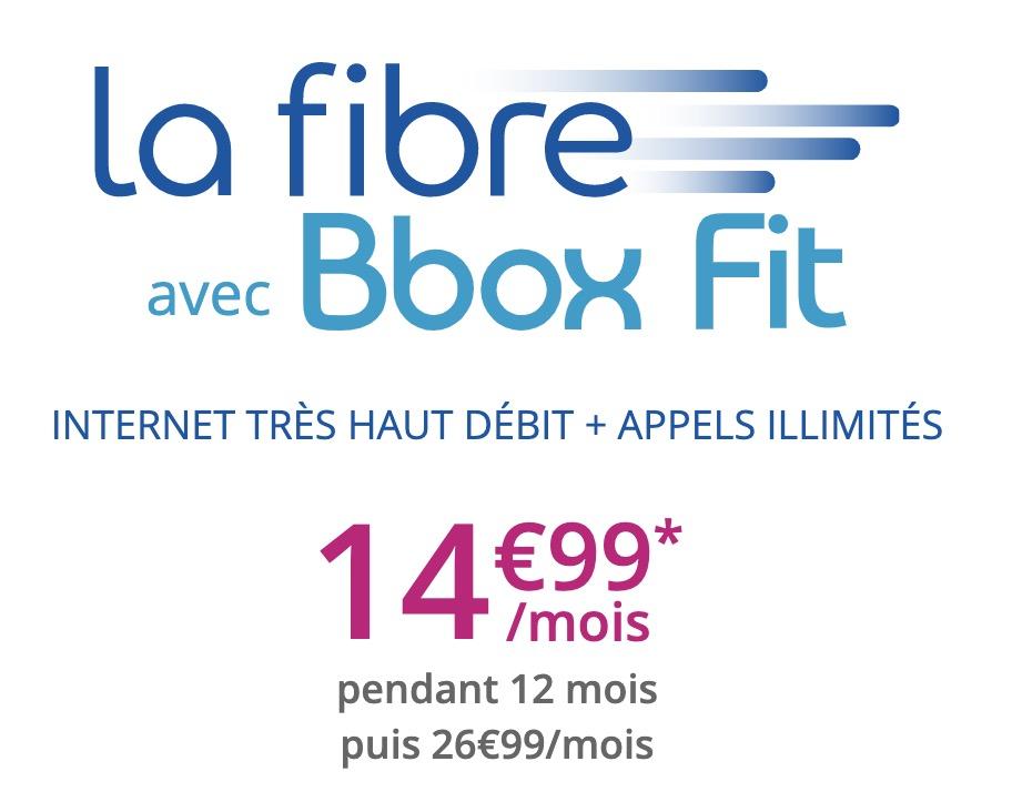 Code promo Bouygues Telecom : Box Internet Fibre (200Mb/s ↓ et 100Mb/s ↑) Bbox Fit à 14,99€/mois pendant 1 an