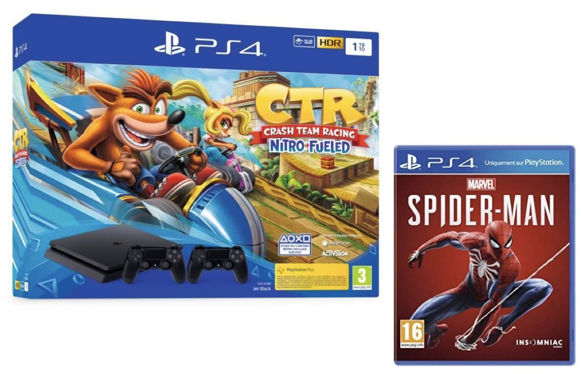 Code promo Amazon : Console PS4 Slim 1To F + Crash Team Racing + 2e manette + Marvel's Spider-Man à 299,99€