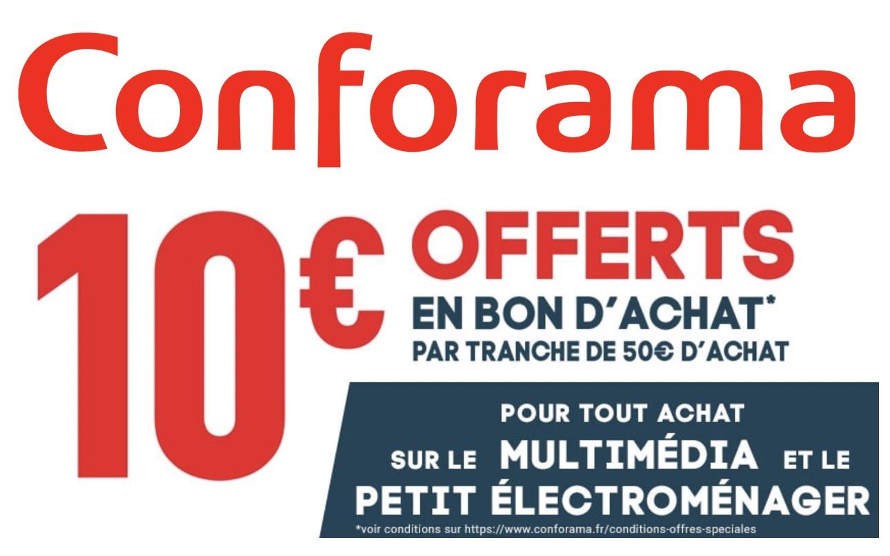 Code promo Conforama : 10€ offerts en bon d'achat par tranche de 50€ sur le multimédia & électroménager