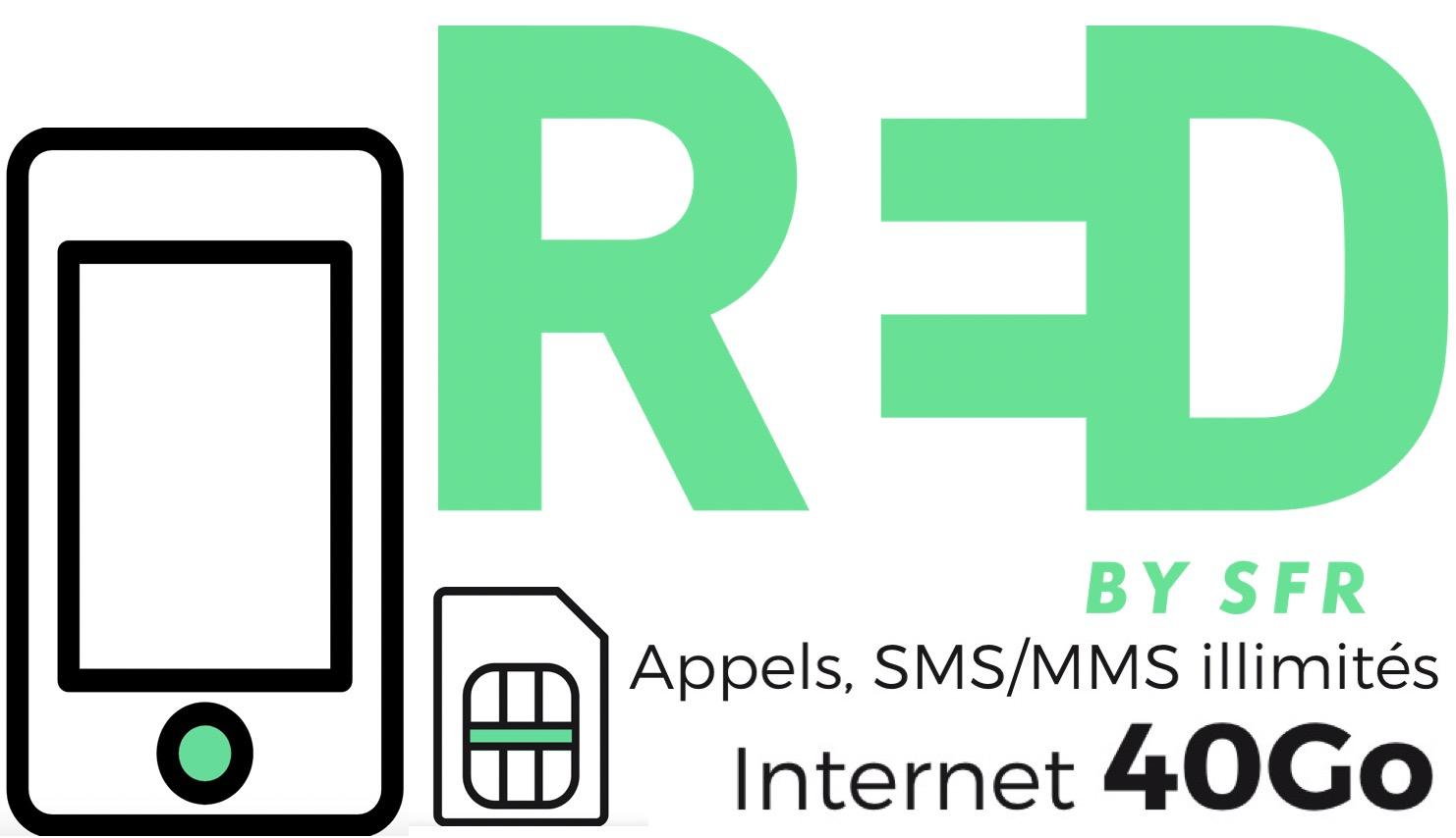 Code promo RED by SFR : Forfait mobile Appels, SMS/MMS illimités + 40Go d'Internet + 5Go en Europe à 10€/mois à vie