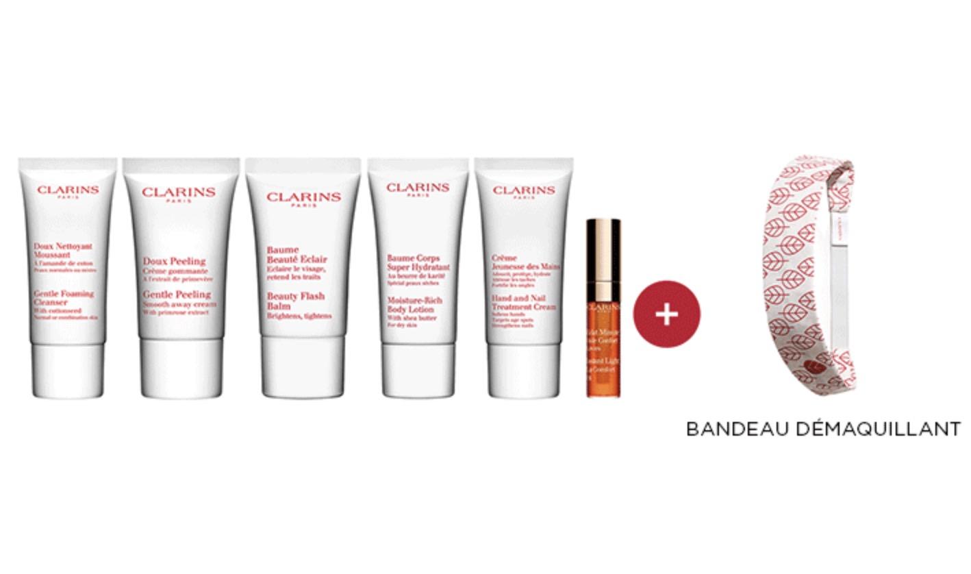 Code promo Clarins : Un routine beauté de 6 mini produits et 1 accessoire au choix offert dès 80€ d'achat