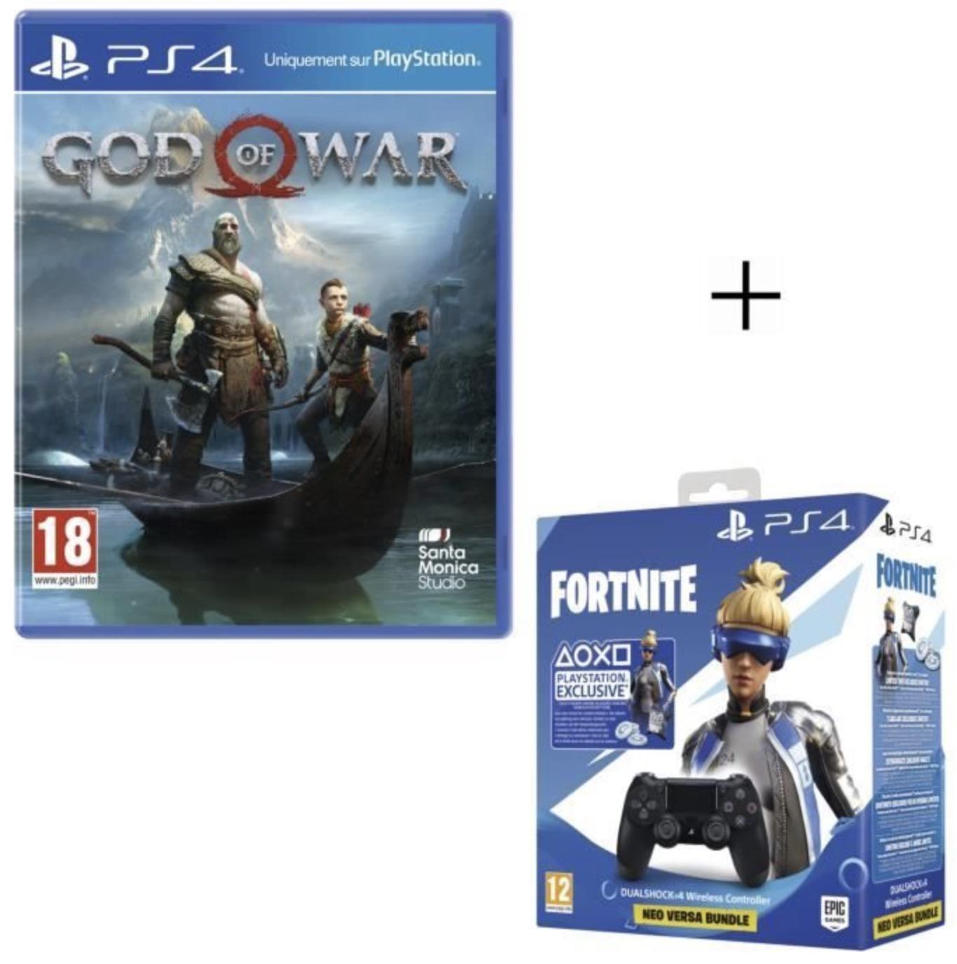 Code promo Cdiscount : JeuGod Of War + Manette PS4 DualShock 4 Noire V2 + Voucher Fortnite à 49,99€ +