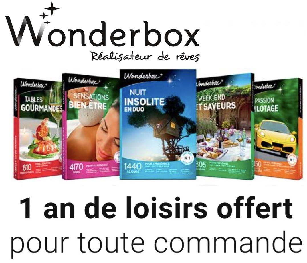 Code promo Wonderbox : 1 an de loisirs offert (12 activités par an) pour toute commande