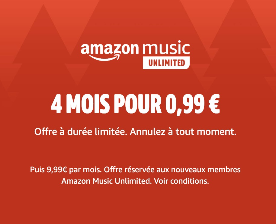 Code promo Amazon : 4 mois d'abonnement à Amazon Music Unlimited pour 0,99€ au lieu de 39,96€